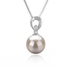10-11mm AAAA Quality Freshwater Cultured Pearl Pendant in Emilia White