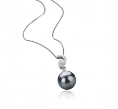 10-11mm AAA Quality Tahitian Cultured Pearl Pendant in Eilidh Black