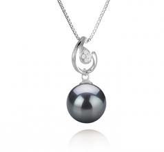 10-11mm AAA Quality Tahitian Cultured Pearl Pendant in Femke Black