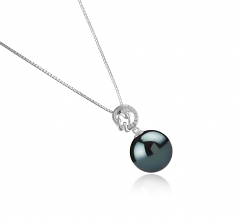 11-12mm AAA Quality Tahitian Cultured Pearl Pendant in Trish Black