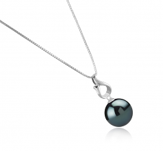 11-12mm AAA Quality Tahitian Cultured Pearl Pendant in Elin Black