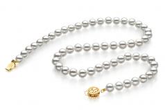 7-7.5mm Hanadama - AAAA Quality Japanese Akoya Cultured Pearl Necklace in Hanadama 16-inch White