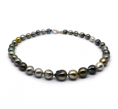 9-12mm Baroque Quality Tahitian Cultured Pearl Necklace in 17-inch Multicolor