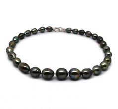 9-13mm Baroque Quality Tahitian Cultured Pearl Necklace in 17-inch Multicolor