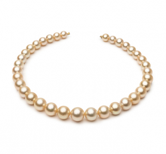 9.3-13.3mm AA Quality South Sea Cultured Pearl Necklace in 18-inch Gold