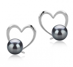 7-8mm AAAA Quality Freshwater Cultured Pearl Earring Pair in Vanessa Black