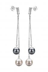 7-8mm AAAA Quality Freshwater Cultured Pearl Earring Pair in Brenda Black