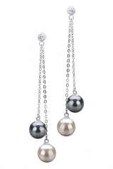 7-8mm AAAA Quality Freshwater Cultured Pearl Earring Pair in Dolly Black