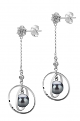 6-7mm AA Quality Japanese Akoya Cultured Pearl Earring Pair in Paula Black