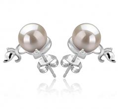 7-8mm AA Quality Japanese Akoya Cultured Pearl Earring Pair in Gilda White