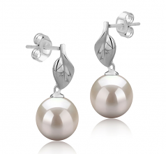 8-9mm AAAA Quality Freshwater Cultured Pearl Earring Pair in Leaf White