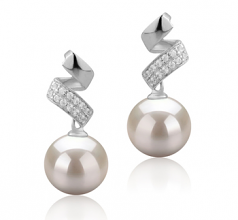 9-10mm AAAA Quality Freshwater Cultured Pearl Earring Pair in Blair White