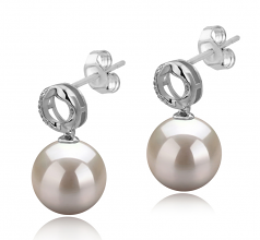 9-10mm AAAA Quality Freshwater Cultured Pearl Earring Pair in Shellry White