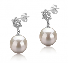 10-11mm AAAA Quality Freshwater Cultured Pearl Earring Pair in Snow White