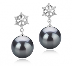 10-11mm AAA Quality Tahitian Cultured Pearl Earring Pair in Snow Black