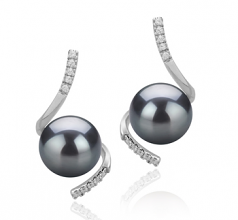 8-9mm AAAA Quality Freshwater Cultured Pearl Earring Pair in Mathilde Black