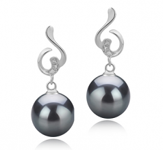 8-9mm AAAA Quality Freshwater Cultured Pearl Earring Pair in Priscilla Black