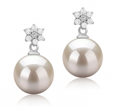 8-9mm AAAA Quality Freshwater Cultured Pearl Earring Pair in Wilma White
