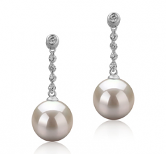 9-10mm AAAA Quality Freshwater Cultured Pearl Earring Pair in Ariel White