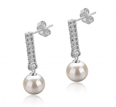 10-11mm AAAA Quality Freshwater Cultured Pearl Earring Pair in Verna White