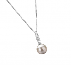 9-10mm AAAA Quality Freshwater Cultured Pearl Pendant in Thelma White