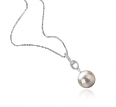 9-10mm AAAA Quality Freshwater Cultured Pearl Pendant in Sierra White