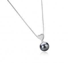 9-10mm AAA Quality Tahitian Cultured Pearl Pendant in Taima - Heart Black
