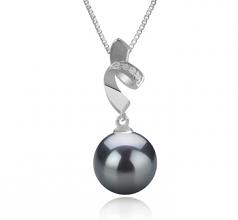 9-10mm AAA Quality Tahitian Cultured Pearl Pendant in Winola Black