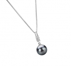 9-10mm AAA Quality Tahitian Cultured Pearl Pendant in Thelma Black