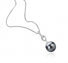 9-10mm AAA Quality Tahitian Cultured Pearl Pendant in Sierra Black