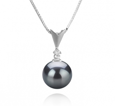 9-10mm AAA Quality Tahitian Cultured Pearl Pendant in Ailani Black