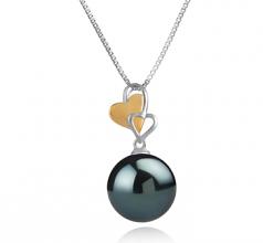 11-12mm AAA Quality Tahitian Cultured Pearl Pendant in Felicia Black