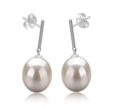 9-10mm AAA Quality Freshwater Cultured Pearl Earring Pair in Melinda White