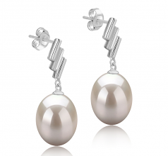 9-10mm AAA Quality Freshwater Cultured Pearl Earring Pair in Ursula White