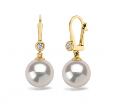 8.5-9mm AAAA Quality Freshwater Cultured Pearl Earring Pair in Illuminate White