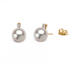 9-10mm AAAA Quality Freshwater Cultured Pearl Earring Pair in Eternity White