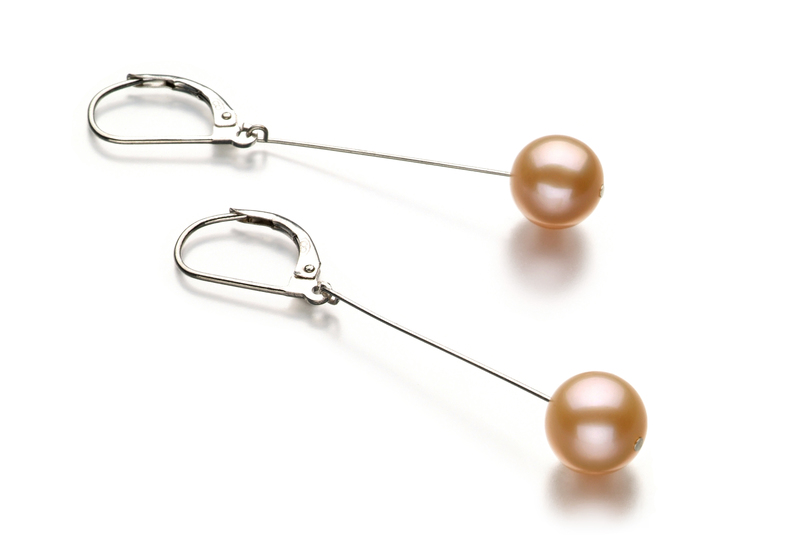 8-9mm AA Quality Freshwater Cultured Pearl Earring Pair in Amy Pink