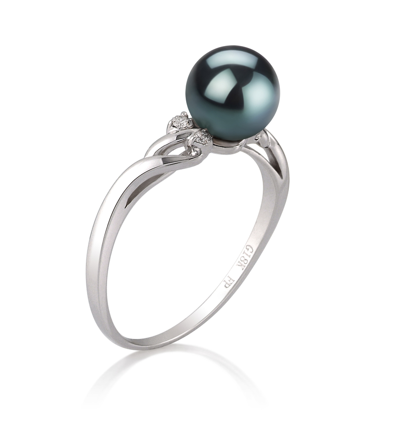 6-7mm AAA Quality Japanese Akoya Cultured Pearl Ring in Andrea Black