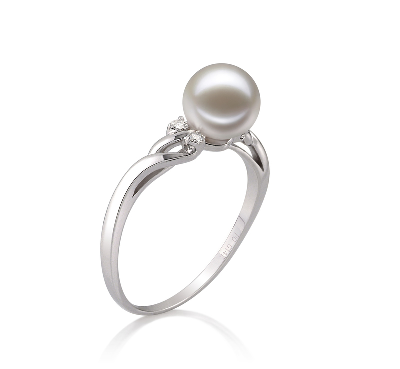 6-7mm AAAA Quality Freshwater Cultured Pearl Ring in Andrea White