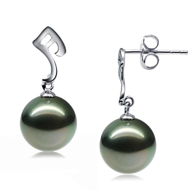 9-10mm AAA Quality Tahitian Cultured Pearl Earring Pair in Assina Abstract Black