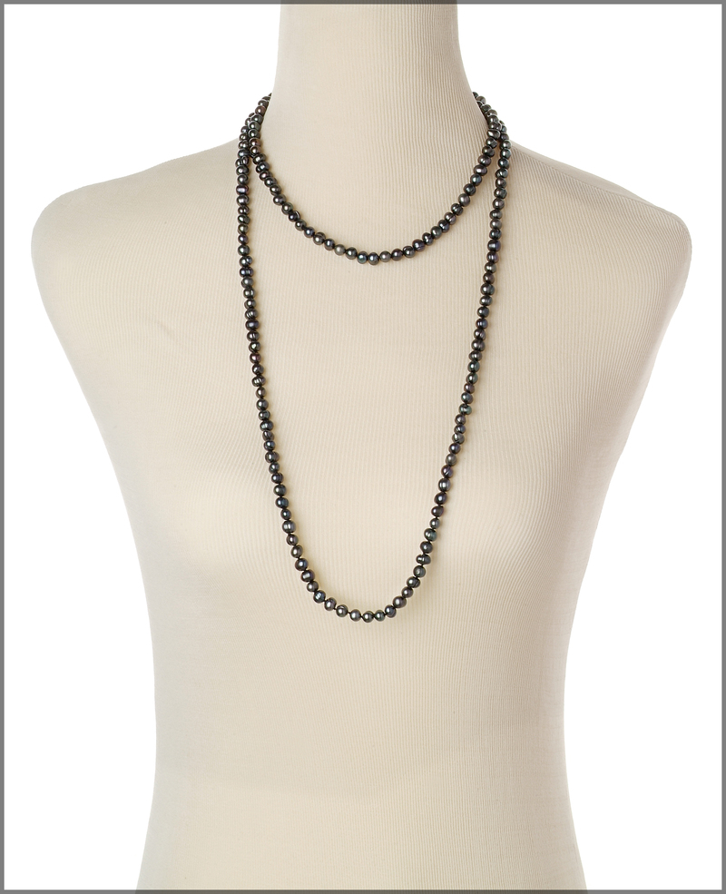 6-7mm A Quality Freshwater Cultured Pearl Necklace in Betty Black
