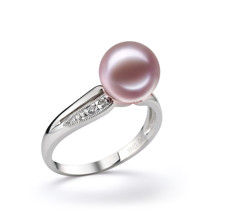 9-10mm AAAA Quality Freshwater Cultured Pearl Ring in Caroline Lavender