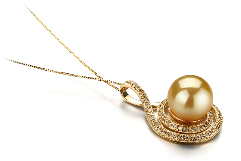 Catalina Gold 12-13mm AAA Quality South Sea 14K Yellow Gold Cultured Pearl Pendant