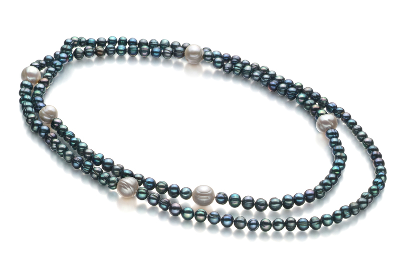 6-11mm A Quality Freshwater Cultured Pearl Necklace in Chloe Black