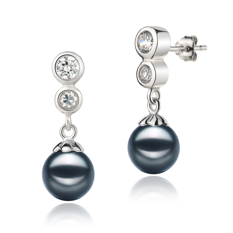 7-8mm AA Quality Japanese Akoya Cultured Pearl Earring Pair in Colleen Black