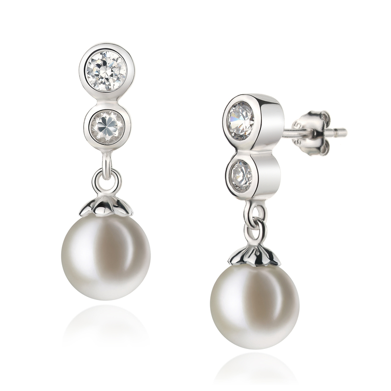 7-8mm AAAA Quality Freshwater Cultured Pearl Earring Pair in Colleen White