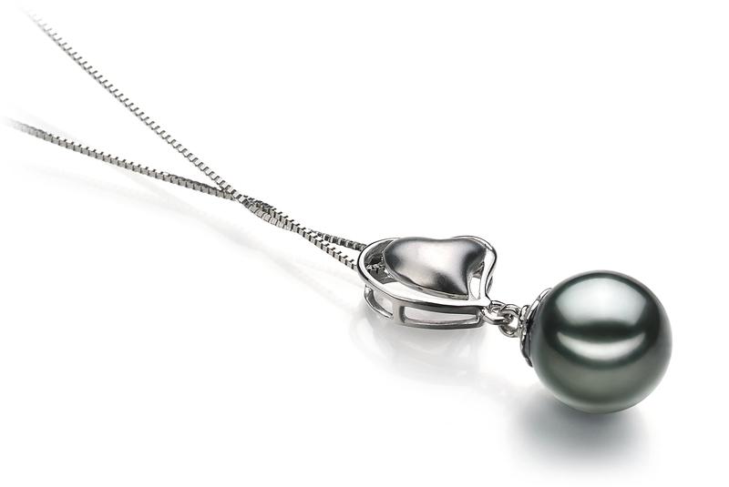 8-9mm AAA Quality Tahitian Cultured Pearl Pendant in Cora Black
