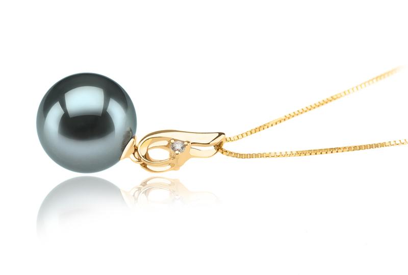 10-11mm AAA Quality Tahitian Cultured Pearl Pendant in Darlene Black