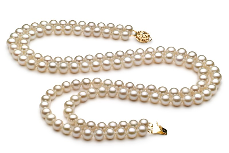 6-7mm AA Quality Freshwater Cultured Pearl Set in Double Strand White