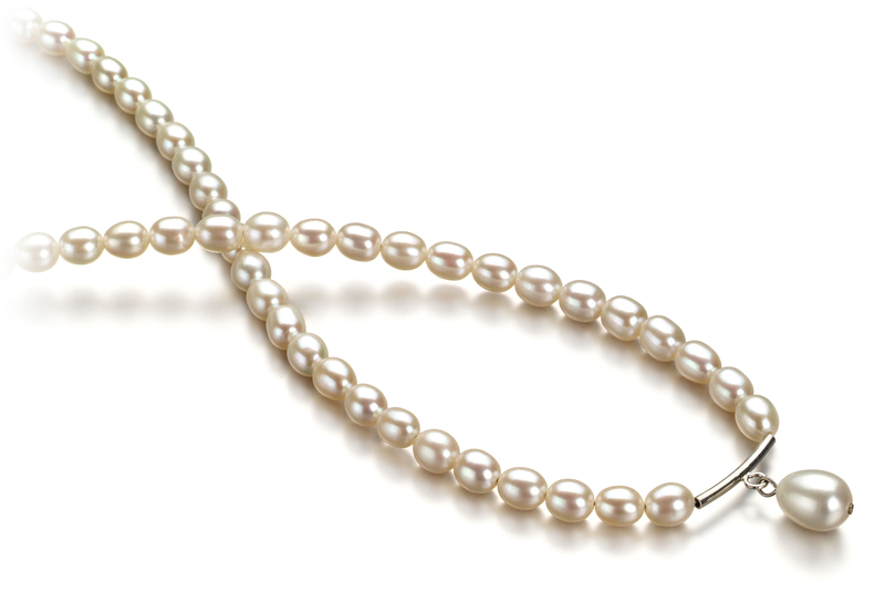 3-4mm A Quality Freshwater Cultured Pearl Necklace in Drop White